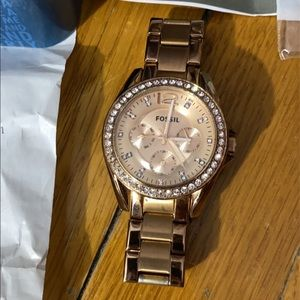 Fossil Rose Gold Stud Embezzeled Watch